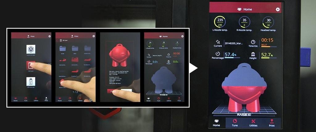 Il display a colori della Raise3D N2
