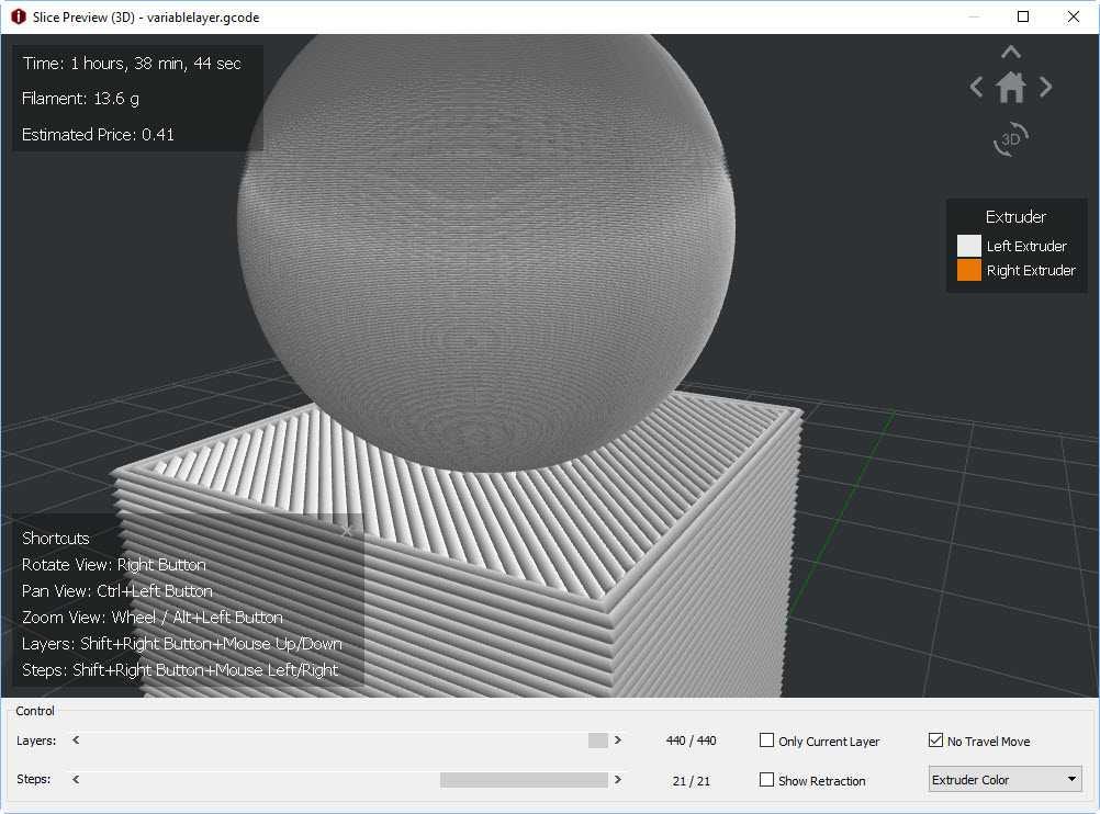 IdeaMaker 3.0 diverso spessore layer