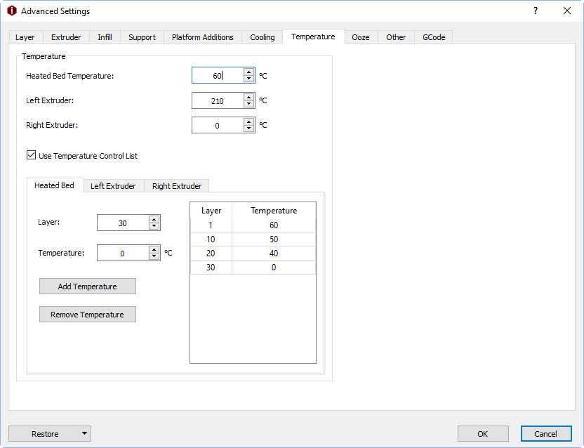 IdeaMaker 3.0 controllo temperature