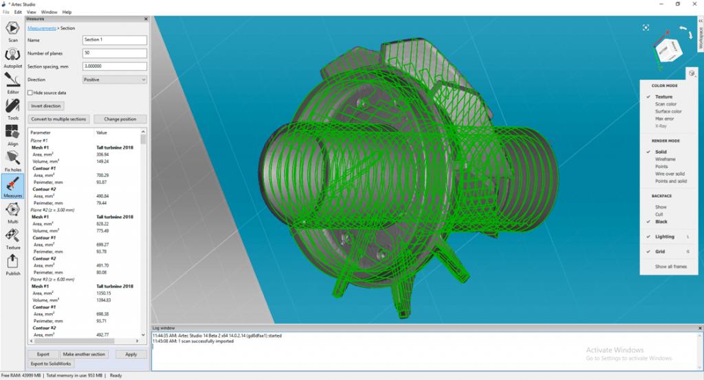 Artec Studio 14 Professional esportazione diretta verso software CAD